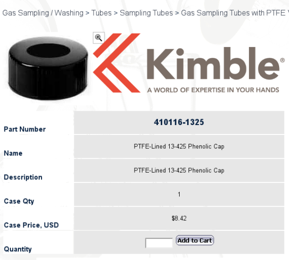 PTFE-Lined 13-425 Phenolic Cap Kimble