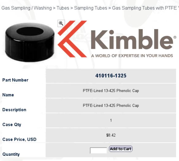 PTFE-Lined 13-425 Phenolic Cap Kimble